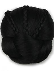 Kinky Curly Black Braid Lady Human Hair Weaves Chignons 2