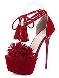 Zapatos de mujer-Tacón Stiletto-Tacones-Tacones-Casual-Vellón-Negro