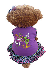 Dog Dress Purple Dog Clothes Summer Animal / Hearts Leopard