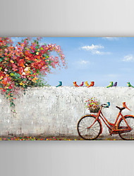 Hand Painted Oil Painting Landscape The Corner of The Bike with the birds with Stretched Frame 7 Wall Arts®