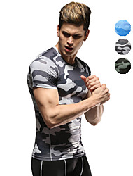 Vansydical® Men's Short Sleeve Running T-shirt Compression Clothing Tops Breathable Quick Dry Spring Summer Sports WearExercise & Fitness