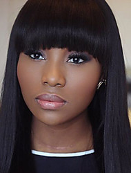In Stock 10-30inch Bob Silk Straight With Bangs Lace Front Wigs 100% Brazilian Virgin Human Hair U Part Wig For Women