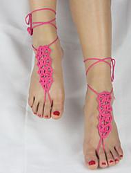 Cadeia de tornozelo das mulheres Moda artesanal de algodão crochet yoga descalços sandálias
