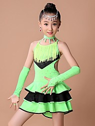 Latin Dance Dresses Children's Performance Spandex Rhinestones / Tassel(s) Kid's Dance Costumes