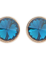 Elegant Sapphire Crystal Bright Shiny  Round  Earrings
