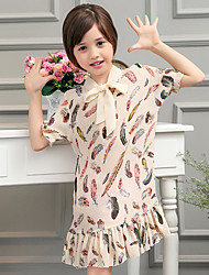 Girl's Multi-color Dress,Print Polyester Summer