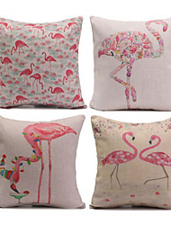 Set of 4 Flamingos &Cranes Pillowcase Sofa Home Decor Cushion Cover (17*17 inch)