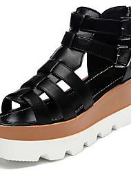 Women's Shoes Leatherette Platform Peep Toe / Platform Sandals Office & Career / Dress / Casual Black / White