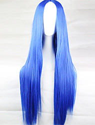 Europe And The United States The New Color Wig 80 Cm High Temperature Silk Blue Long Straight Hair Wigs