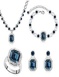 Schmuckset Braut-Schmuck-Sets Kristall Geburtssteine Krystall Weiß Marineblau Hellblau Halsketten Ohrringe Ringe Armband FürHochzeit