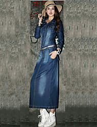 Women's Blue Denim Dress , Vintage/Casual/Cute/Party Long Sleeve