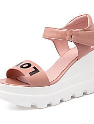 Women's Shoes PU / Patent Leather Wedge Heel Wedges/ Open Toe Sandals Outdoor / Dress / Casual Green/Pink/Silver