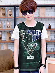 New Fashion Man Clothing Top Print Short Sleeve Cotton O Neck T-Shirts
