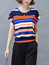 Women's Casual/Daily Boho / Street chic Blouse,Striped Round Neck Short Sleeve Gray Polyester Thin