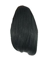 длина черный парик 26см синтетический прямой высокой температуры проволоки захватами маленький хвостик цвет 4010