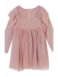 Robe Fille de Jacquard Coton Eté Rose