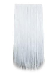argent longueur 70cm synthétique recevant un cheveu puce curling pilules cheveux raides (couleur argent)