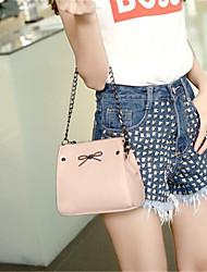 Women-Casual-PU-Shoulder Bag-Pink / Silver
