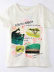 Print -Katoen-Zomer-Girl's-T-shirt-Beige