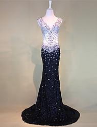 Formal Evening Dress Trumpet/Mermaid V-neck Court Train Tulle