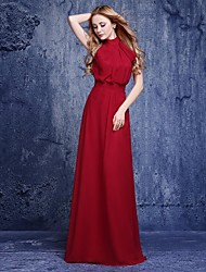 Floor-length Chiffon Bridesmaid Dress - A-line Halter with
