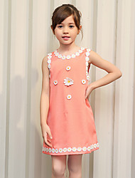 Girl's Pink Dress / Blouse,Solid Cotton / Polyester Summer