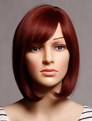 Capless Red Color Middle Length High Quality Natural Straight Synthetic Wig