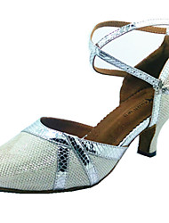 Customizable Women's Dance Shoes Latin Leatherette Flared Heel White