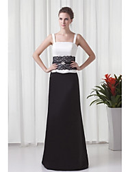 Formal Evening Dress Sheath / Column Straps Floor-length Lace / Satin with Crystal Detailing / Lace / Sash / Ribbon