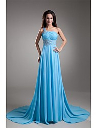 Formal Evening Dress - Open Back A-line One Shoulder Court Train Chiffon with Beading Pleats