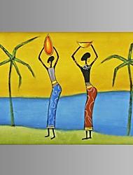 pintados à mão abstrata pintura a óleo mulheres africanas decoração do restaurante com quadro esticado