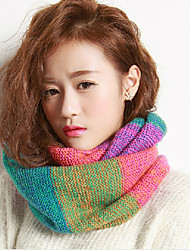 Stitching Color Wool Knitted Scarf Hedging Warm Winter Thick Rainbow Colored Scarves