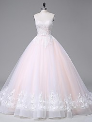 A-line Wedding Dress Wedding Dress in Color Sweep / Brush Train Strapless Lace Satin Tulle with Appliques Beading Crystal