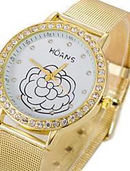 Women Stainless Steel Gold/Silver Band Analog Quartz Flower Case  Wrist Bracelet Bangle Watch Jewelry