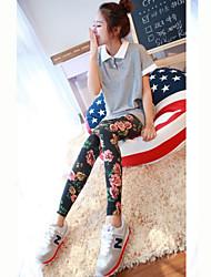 Women's Floral Blue / Black Skinny Pants,Cute