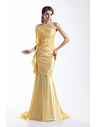 Formal Evening Dress - Elegant Trumpet / Mermaid One Shoulder Sweep / Brush Train Stretch Satin with Ruffles Pleats