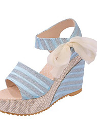 Women's Shoes PU Wedge Heel Wedges / Open Toe Sandals Outdoor / Dress / Casual Black / Blue / White / Gold