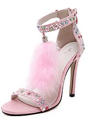 Women's Shoes Fleece Stiletto Heel Heels / Platform / Open Toe Sandals Party & Evening Black / Burgundy