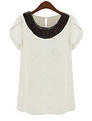 Women's Round Neck Sequins Blouse , Chiffon Short Sleeve