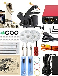 Professional Complete 2 Gun Tattoo Machine Kit Power Supply Needle Grips Tips