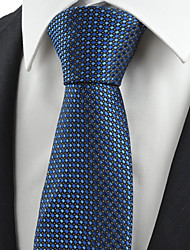 KissTies Men's Necktie Dark Navy Blue Cross Check Wedding/Business/Work/Formal/Casual Tie With Gift Box