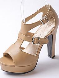 Women's Shoes Chunky Heel Peep Toe / Slingback Sandals Wedding / Party & Evening / Dress Black / White / Almond