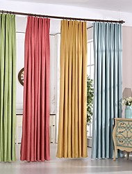 Two Panels Chenille Solid Polyester Blackout Curtains Drapes Red Blue Yellow Green