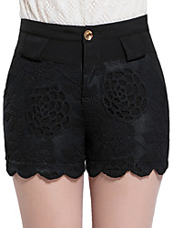 Mulheres Calças Simples Shorts Algodão Micro-Elástica Mulheres