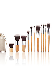 11pc Bambusgriff und Nylonhaarkosmetik-Make-up-Pinsel-Set und Make-up Zahnbürste
