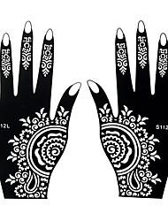 2pcs Temporary Tattoo Stencil Fake Black Henna Airbrush Tattoo Hands Art Sticker Template Gift S112