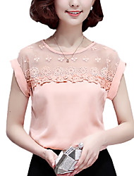 Summer Casual Women Fashion Lace Splice Round Neck Short Sleeve Chiffon Blouse Slim Shirt Tops