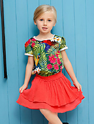 Girl's Multi-color Tee / Blouse,Print Cotton Summer