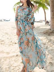 depuis sexy / boho florale balançoire robe féminine, col rond maxi polyester