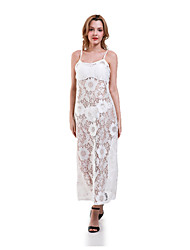Women's Casual Seeveless Maxi Beach Dress (Lace)